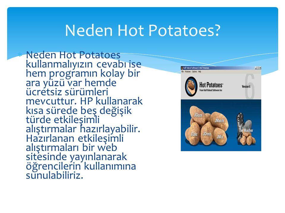  Neden Hot Potatoes kullanmalıyızın cevabı ise hem programın kolay bir ara yüzü var hemde ücretsiz sürümleri mevcuttur. HP kullanarak kısa sürede beş