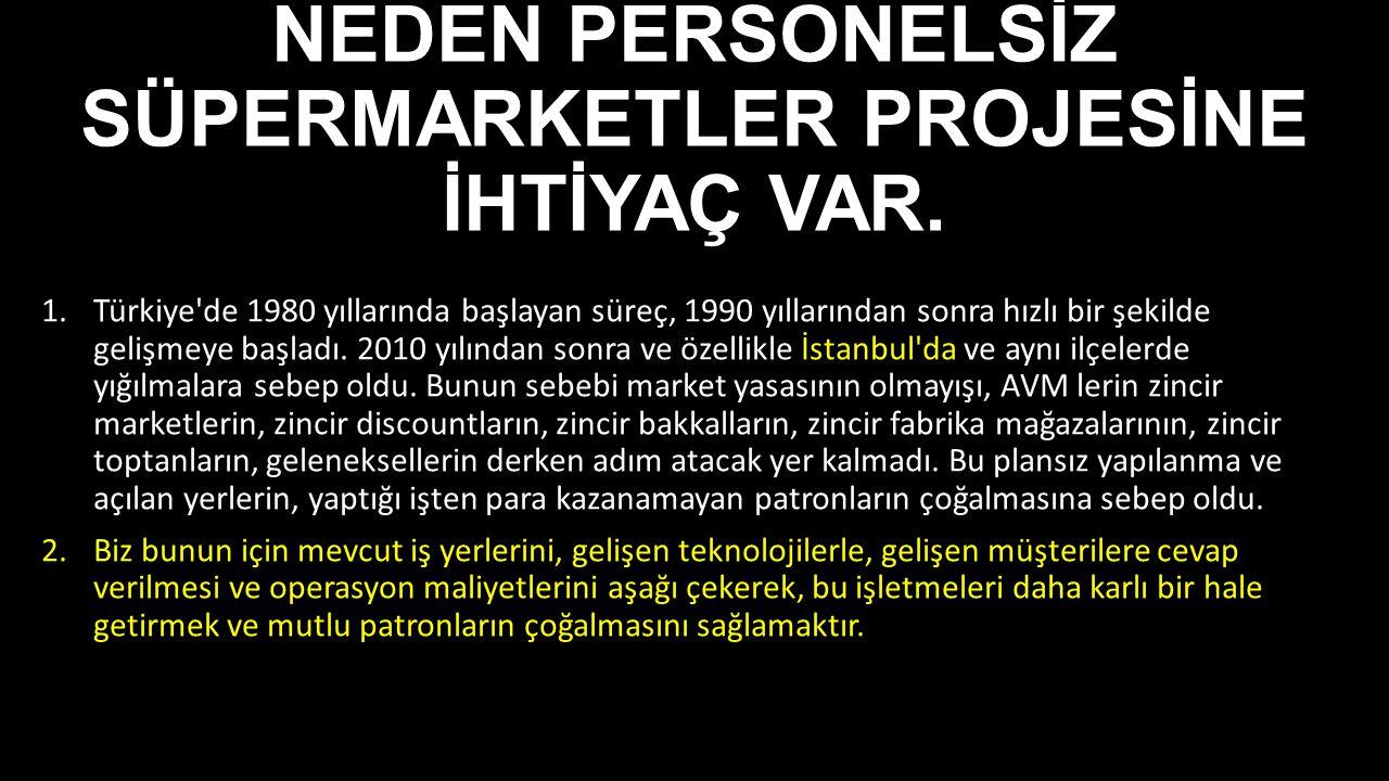 NEDEN PERSONELSİZ SÜPERMARKETLER PROJESİNE İHTİYAÇ VAR. 1.Türkiye'de 1980 yıllarında başlayan süreç, 1990 yıllarından sonra hızlı bir şekilde gelişmey