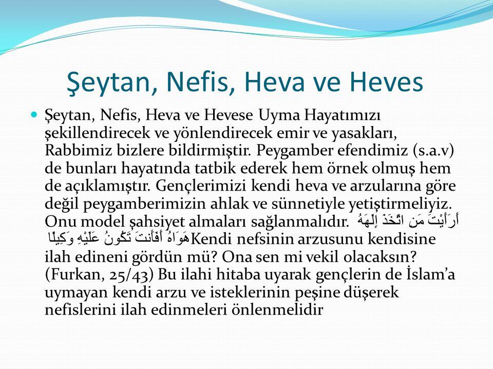 Şeytan, Nefis, Heva ve Heves  Şeytan, Nefis, Heva ve Hevese Uyma Hayatımızı şekillendirecek ve yönlendirecek emir ve yasakları, Rabbimiz bizlere bild