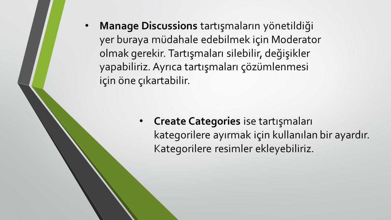 • Manage Discussions tartışmaların yönetildiği yer buraya müdahale edebilmek için Moderator olmak gerekir.