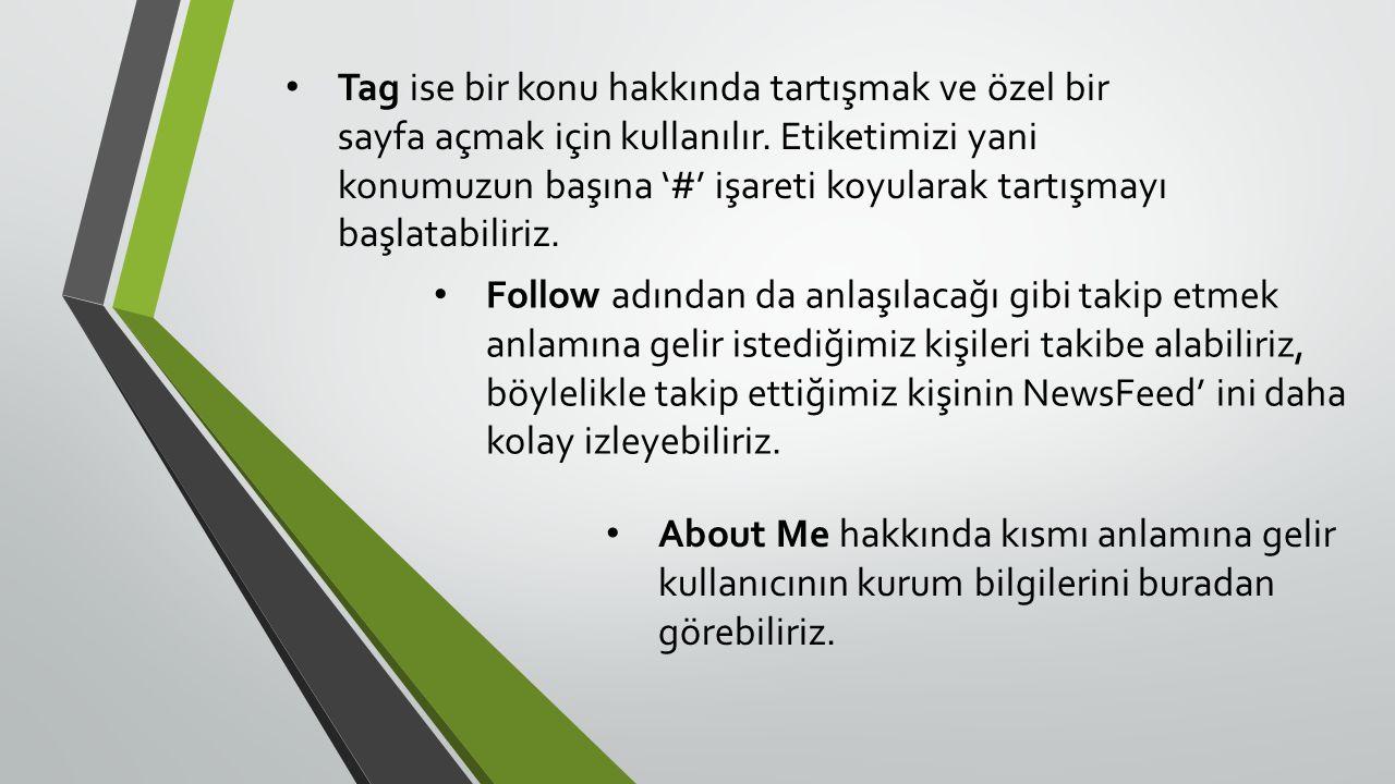 • Tag ise bir konu hakkında tartışmak ve özel bir sayfa açmak için kullanılır.