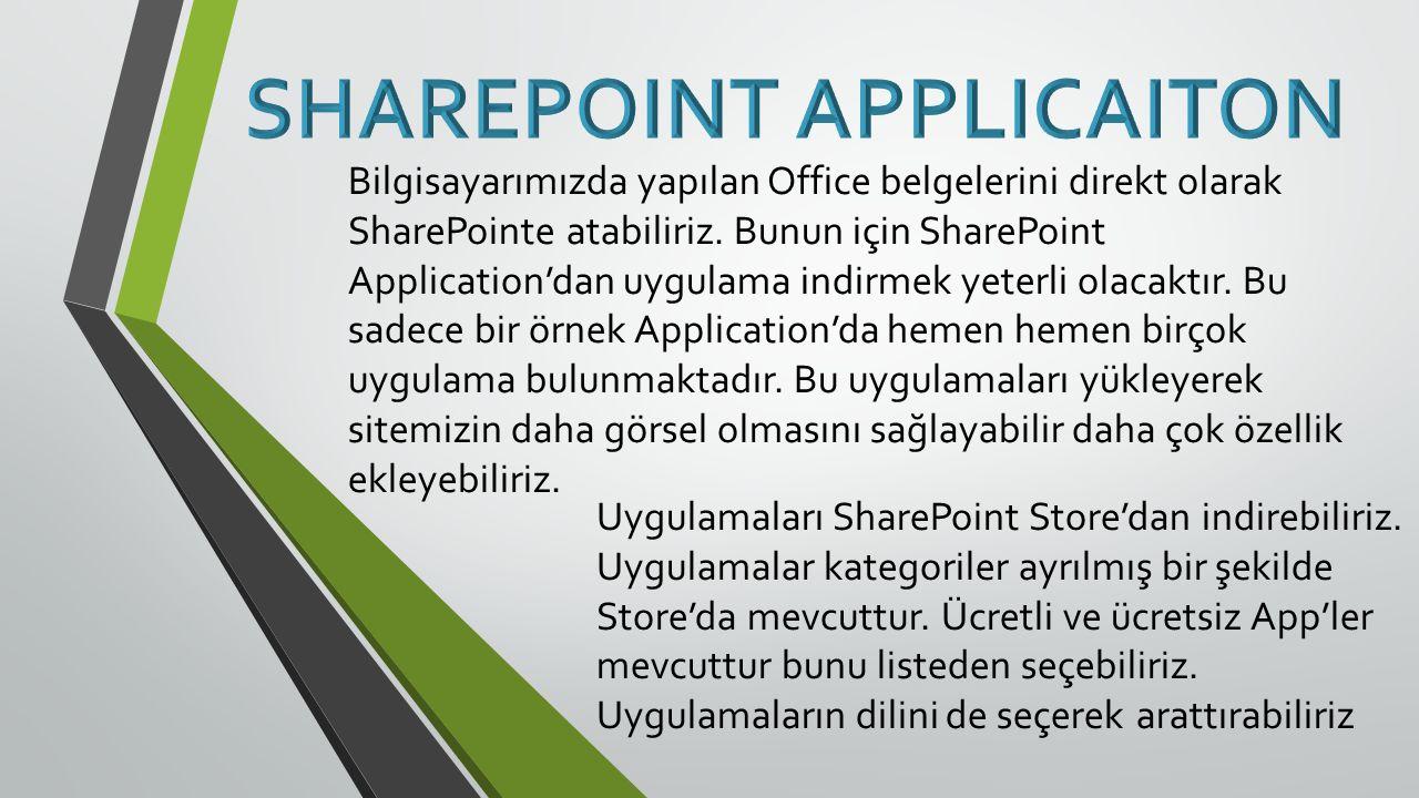 Bilgisayarımızda yapılan Office belgelerini direkt olarak SharePointe atabiliriz.