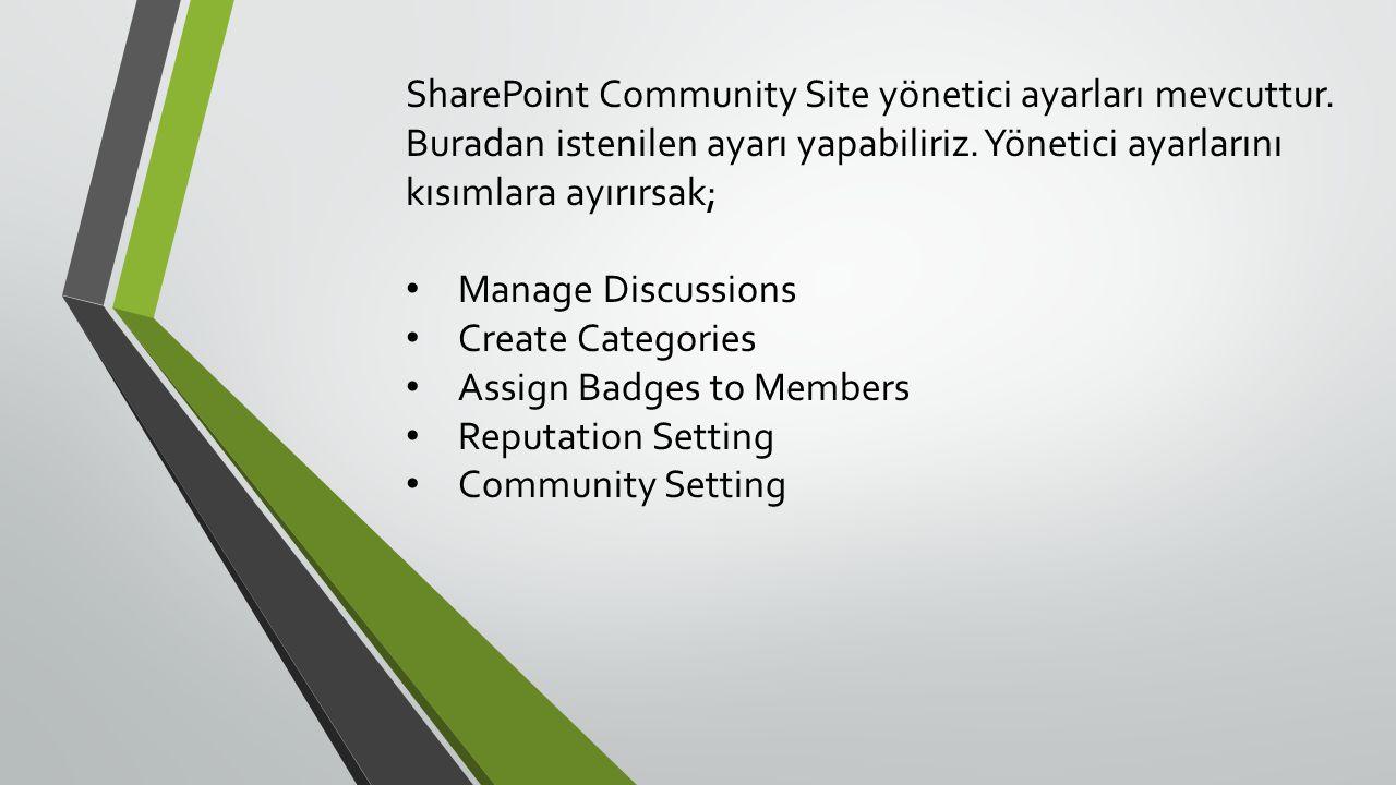 SharePoint Community Site yönetici ayarları mevcuttur.