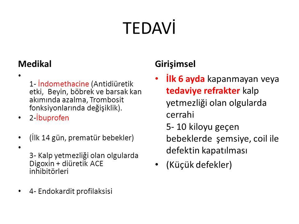 TEDAVİ Medikal • 1- İndomethacine (Antidiüretik etki, Beyin, böbrek ve barsak kan akımında azalma, Trombosit fonksiyonlarında değişiklik). • 2-İbuprof