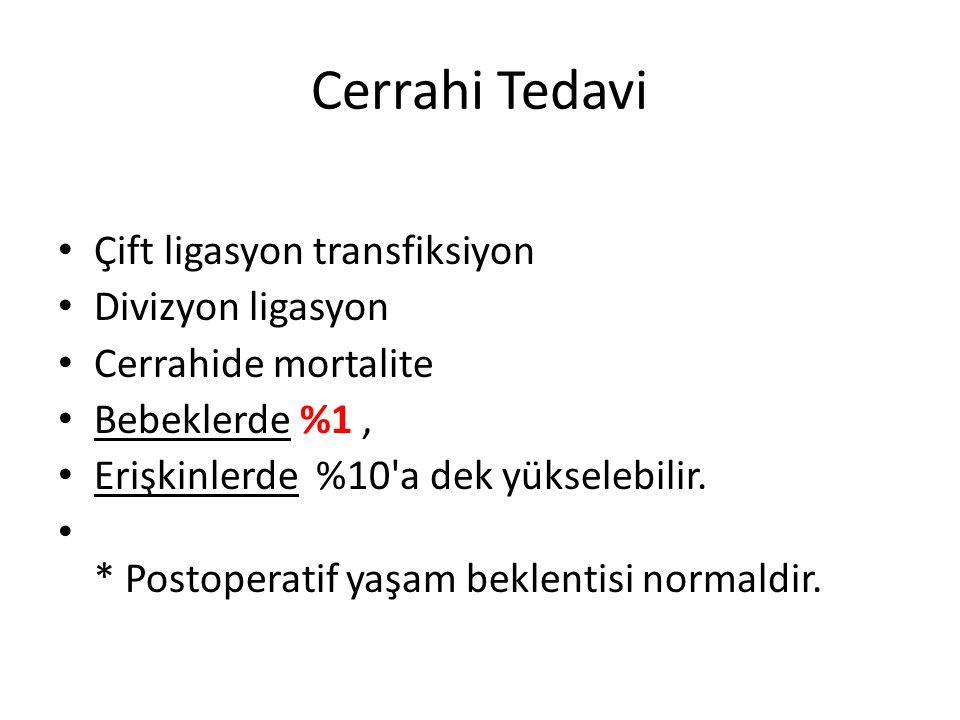 Cerrahi Tedavi • Çift ligasyon transfiksiyon • Divizyon ligasyon • Cerrahide mortalite • Bebeklerde %1, • Erişkinlerde %10'a dek yükselebilir. • * Pos