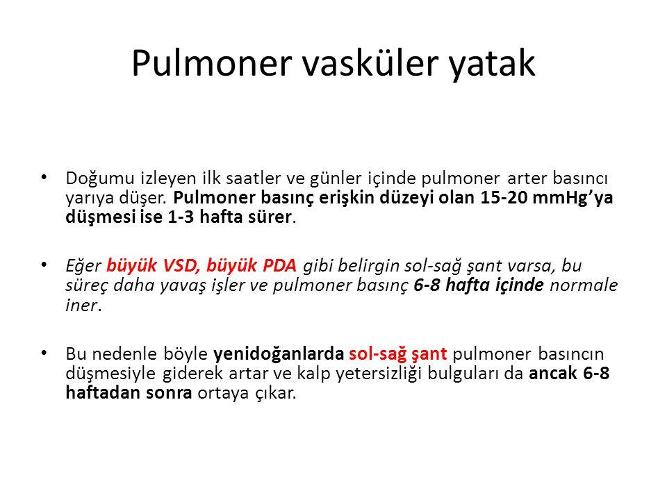 Pulmoner vasküler yatak • Doğumu izleyen ilk saatler ve günler içinde pulmoner arter basıncı yarıya düşer. Pulmoner basınç erişkin düzeyi olan 15-20 m