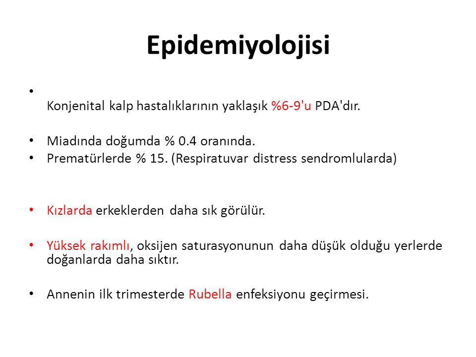 Epidemiyolojisi • Konjenital kalp hastalıklarının yaklaşık %6-9'u PDA'dır. • Miadında doğumda % 0.4 oranında. • Prematürlerde % 15. (Respiratuvar dist