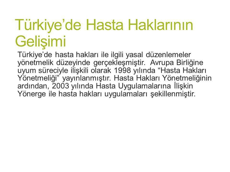 Türkiye'de Hasta Haklarının Gelişimi Türkiye'de hasta hakları ile ilgili yasal düzenlemeler yönetmelik düzeyinde gerçekleşmiştir. Avrupa Birliğine uyu