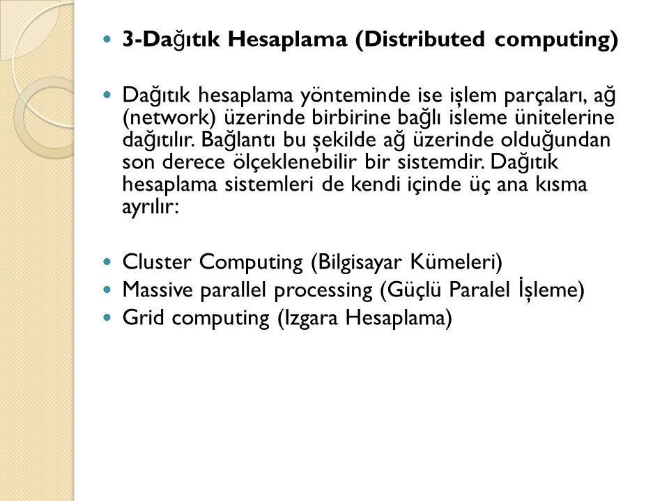  3-Da ğ ıtık Hesaplama (Distributed computing)  Da ğ ıtık hesaplama yönteminde ise işlem parçaları, a ğ (network) üzerinde birbirine ba ğ lı isleme