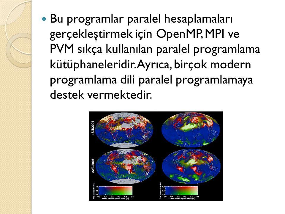  Bu programlar paralel hesaplamaları gerçekleştirmek için OpenMP, MPI ve PVM sıkça kullanılan paralel programlama kütüphaneleridir. Ayrıca, birçok mo