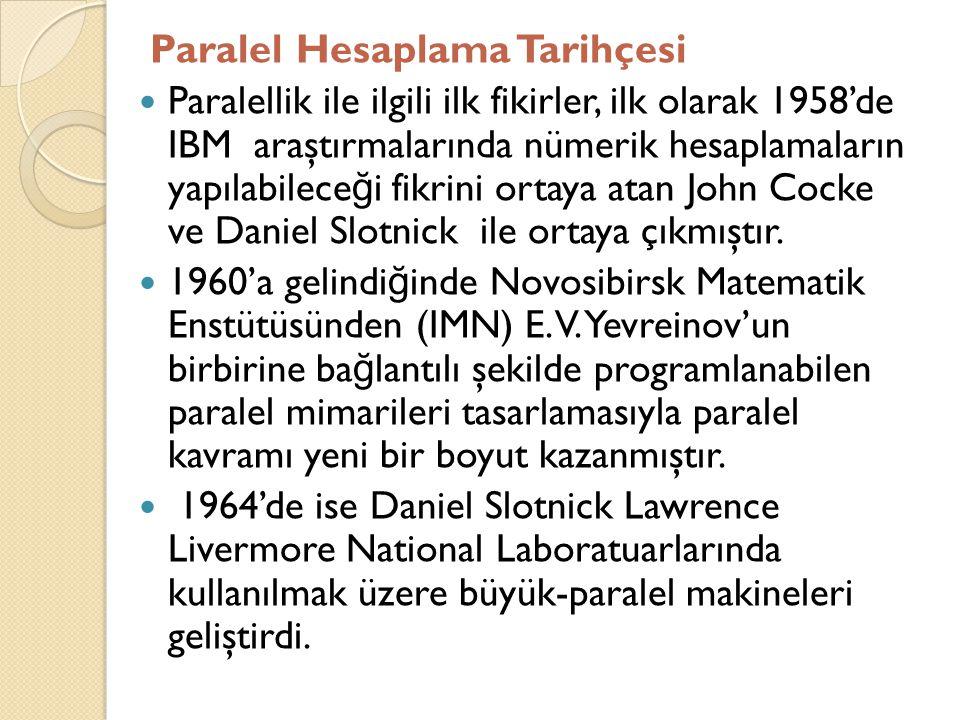 Paralel Hesaplama Tarihçesi  Paralellik ile ilgili ilk fikirler, ilk olarak 1958'de IBM araştırmalarında nümerik hesaplamaların yapılabilece ğ i fikr