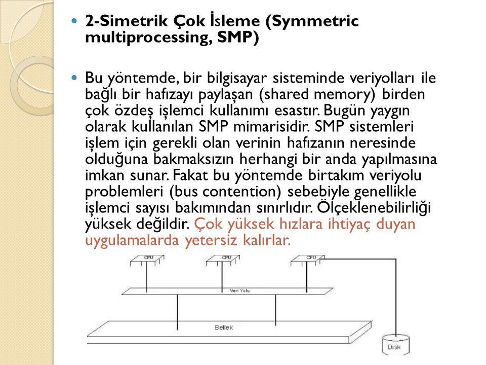  2-Simetrik Çok İ sleme (Symmetric multiprocessing, SMP)  Bu yöntemde, bir bilgisayar sisteminde veriyolları ile ba ğ lı bir hafızayı paylaşan (shar