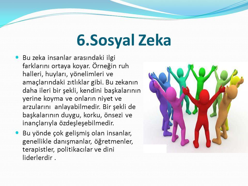 6.Sosyal Zeka  Bu zeka insanlar arasındaki ilgi farklarını ortaya koyar. Örneğin ruh halleri, huyları, yönelimleri ve amaçlarındaki zıtlıklar gibi. B