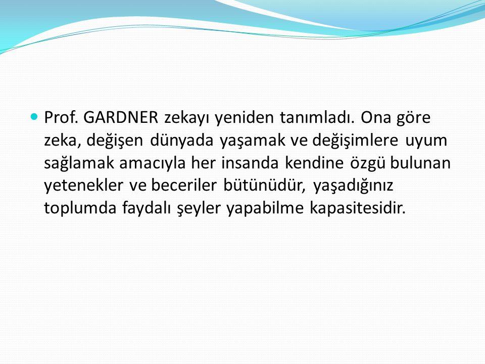  Prof. GARDNER zekayı yeniden tanımladı. Ona göre zeka, değişen dünyada yaşamak ve değişimlere uyum sağlamak amacıyla her insanda kendine özgü buluna