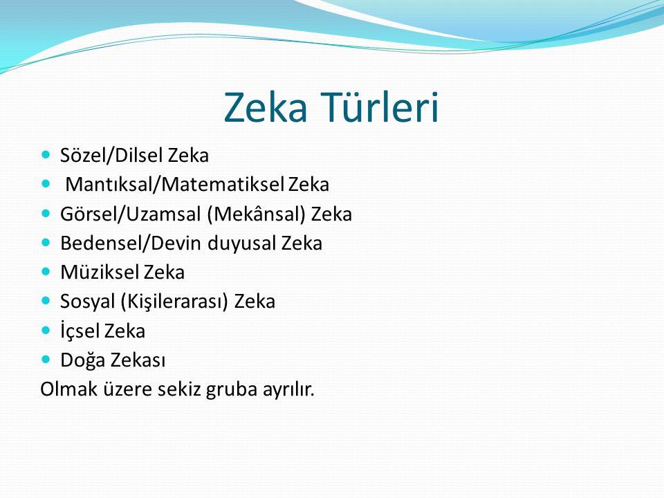 Zeka Türleri  Sözel/Dilsel Zeka  Mantıksal/Matematiksel Zeka  Görsel/Uzamsal (Mekânsal) Zeka  Bedensel/Devin duyusal Zeka  Müziksel Zeka  Sosyal