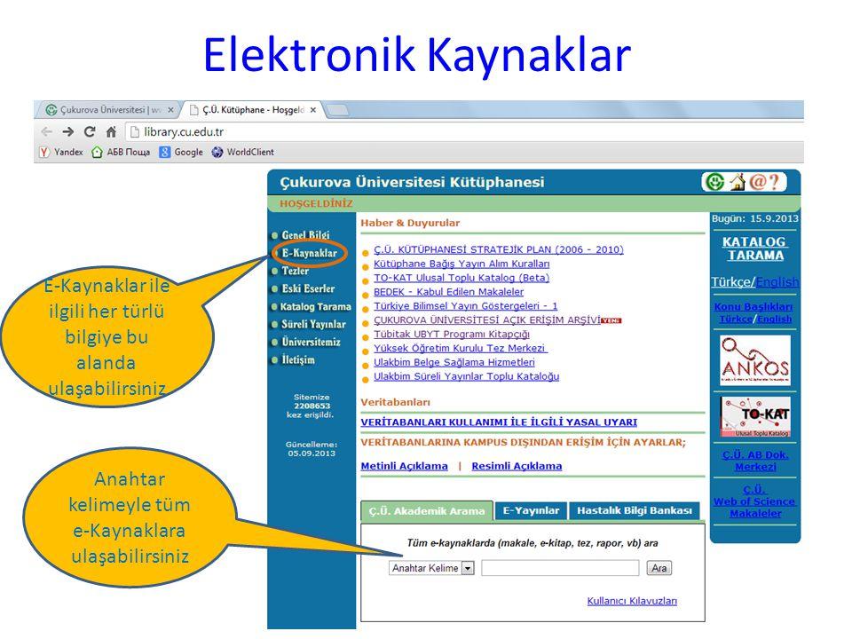 Elektronik Kaynaklar E-Kaynaklar ile ilgili her türlü bilgiye bu alanda ulaşabilirsiniz Anahtar kelimeyle tüm e-Kaynaklara ulaşabilirsiniz