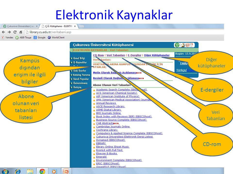 Elektronik Kaynaklar Diğer kütüphaneler E-dergiler Veri Tabanları CD-rom Kampüs dışından erişim ile ilgili bilgiler Abone olunan veri tabanları listes