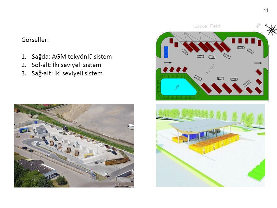 11 Görseller: 1.Sağda: AGM tekyönlü sistem 2.Sol-alt: İki seviyeli sistem 3.Sağ-alt: İki seviyeli sistem
