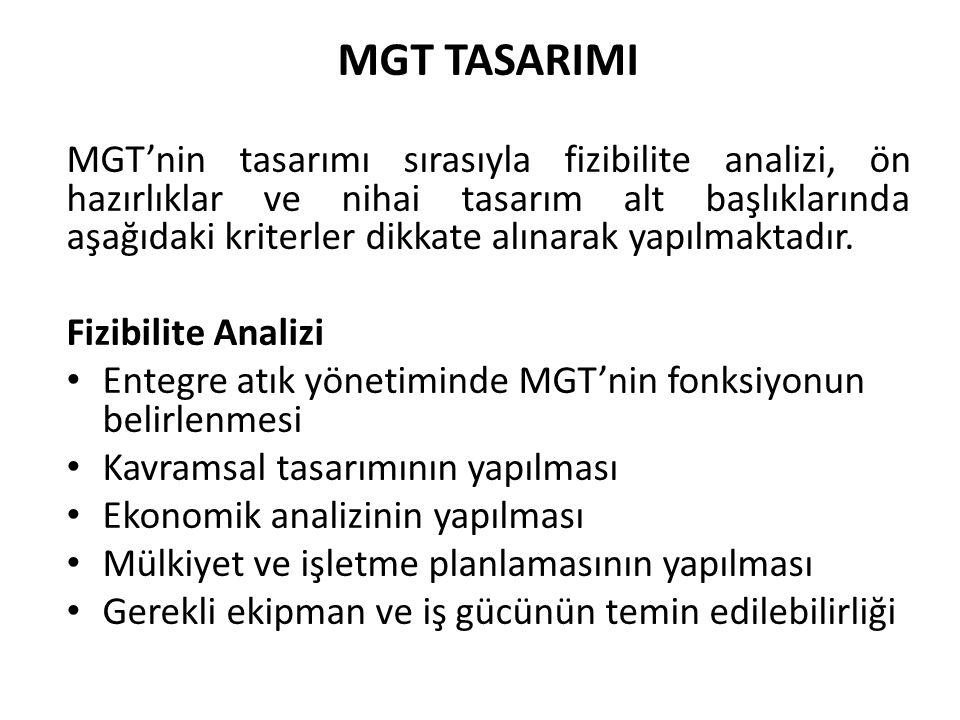 MGT TASARIMI MGT'nin tasarımı sırasıyla fizibilite analizi, ön hazırlıklar ve nihai tasarım alt başlıklarında aşağıdaki kriterler dikkate alınarak yap