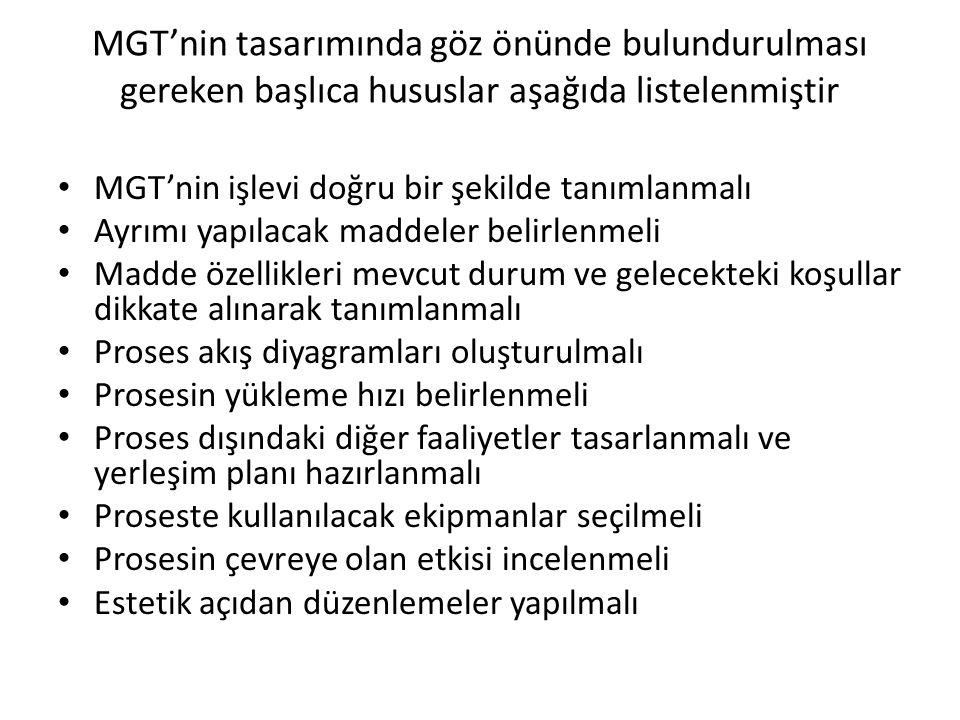 MGT'nin tasarımında göz önünde bulundurulması gereken başlıca hususlar aşağıda listelenmiştir • MGT'nin işlevi doğru bir şekilde tanımlanmalı • Ayrımı
