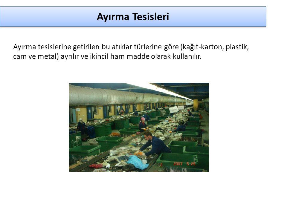 Ayırma Tesisleri Ayırma tesislerine getirilen bu atıklar türlerine göre (kağıt-karton, plastik, cam ve metal) ayrılır ve ikincil ham madde olarak kull