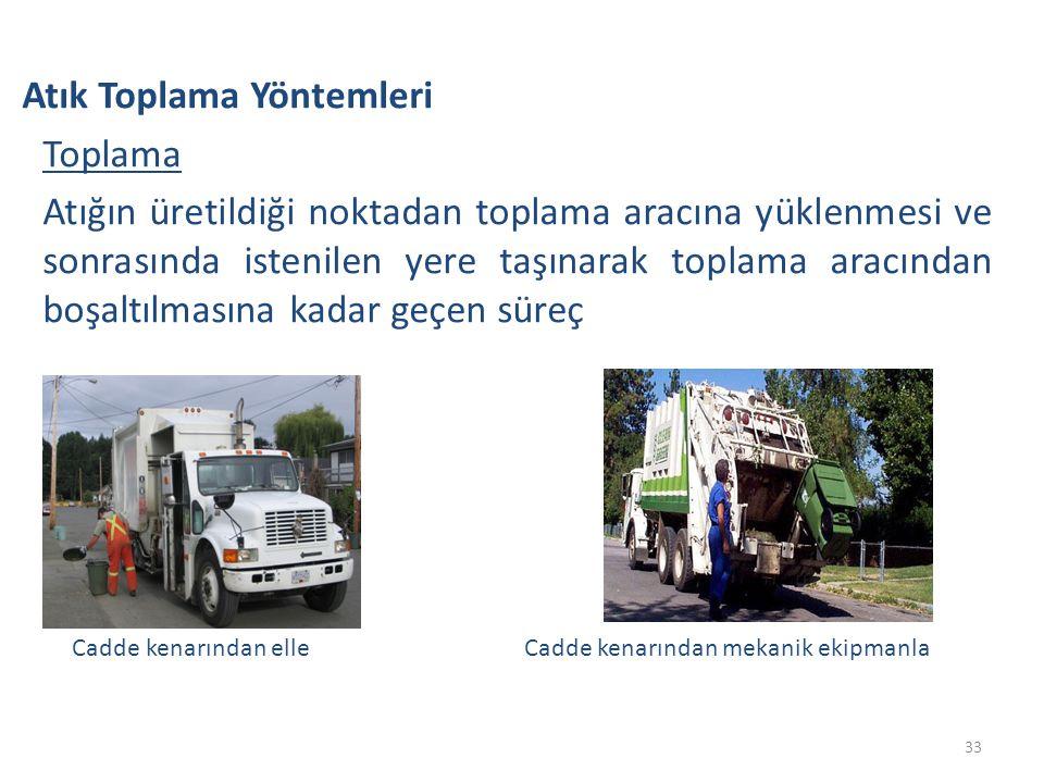 Atık Toplama Yöntemleri Toplama Atığın üretildiği noktadan toplama aracına yüklenmesi ve sonrasında istenilen yere taşınarak toplama aracından boşaltı