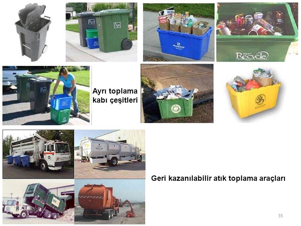 Ayrı toplama kabı çeşitleri Geri kazanılabilir atık toplama araçları 35