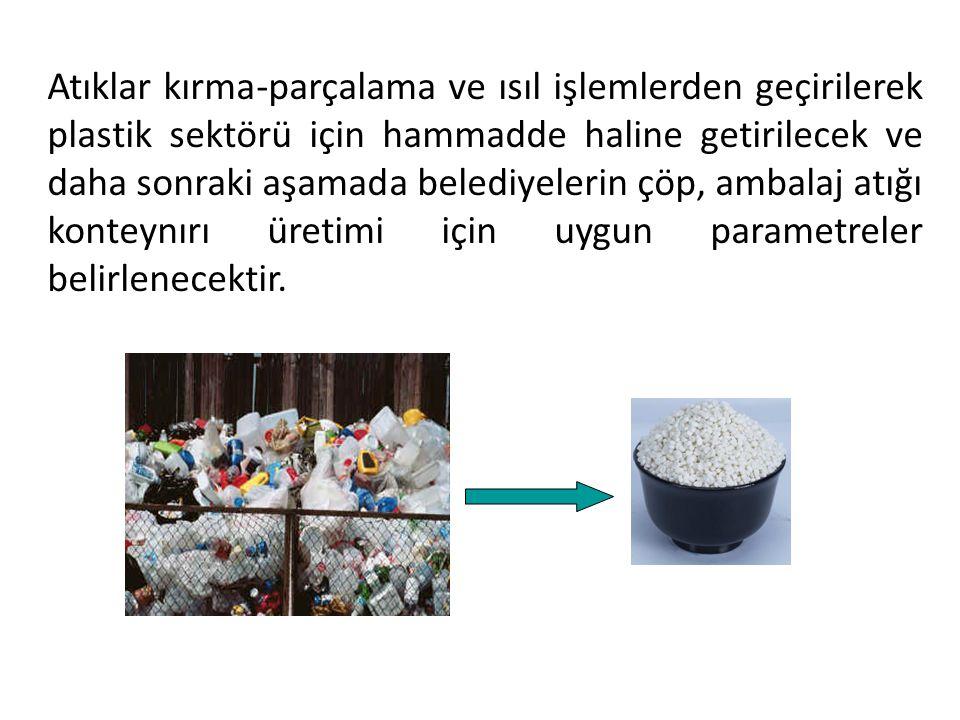 Atıklar kırma-parçalama ve ısıl işlemlerden geçirilerek plastik sektörü için hammadde haline getirilecek ve daha sonraki aşamada belediyelerin çöp, am