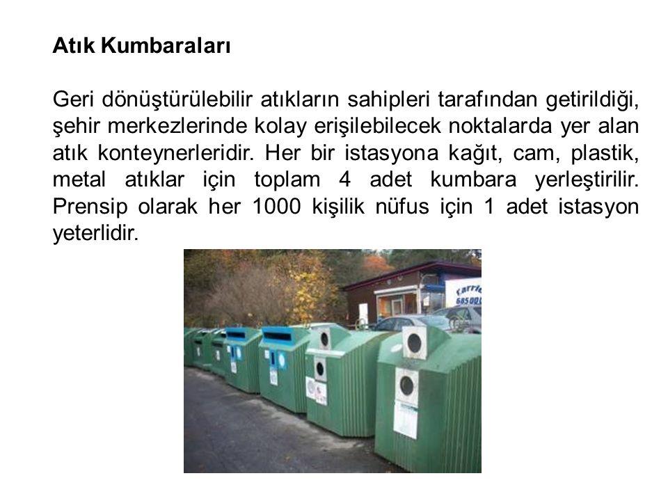Atık Kumbaraları Geri dönüştürülebilir atıkların sahipleri tarafından getirildiği, şehir merkezlerinde kolay erişilebilecek noktalarda yer alan atık k