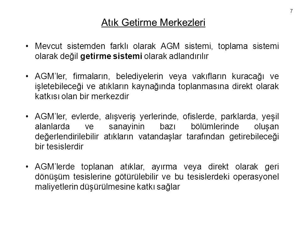 Atık Getirme Merkezleri •Mevcut sistemden farklı olarak AGM sistemi, toplama sistemi olarak değil getirme sistemi olarak adlandırılır •AGM'ler, firmal