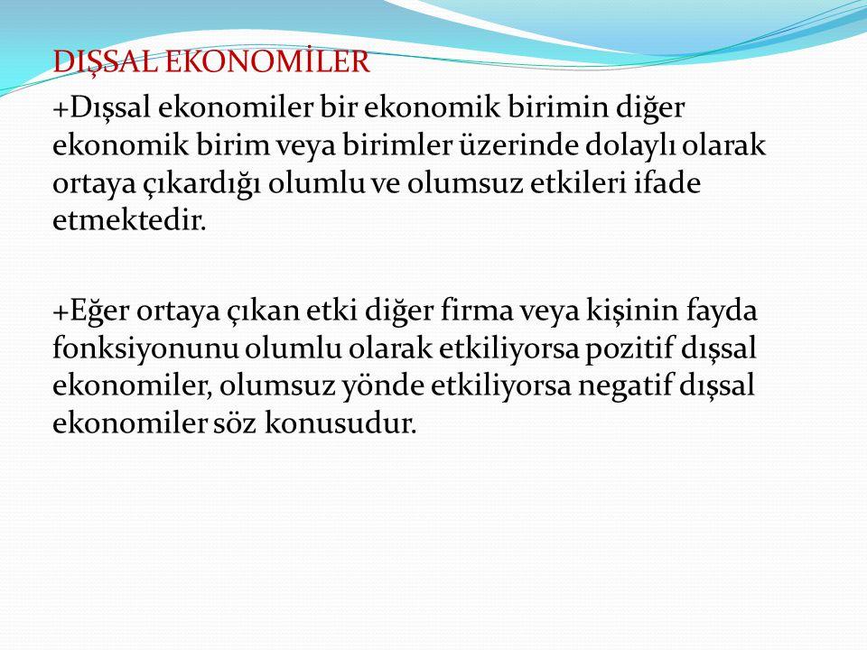 DIŞSAL EKONOMİLER +Dışsal ekonomiler bir ekonomik birimin diğer ekonomik birim veya birimler üzerinde dolaylı olarak ortaya çıkardığı olumlu ve olumsu