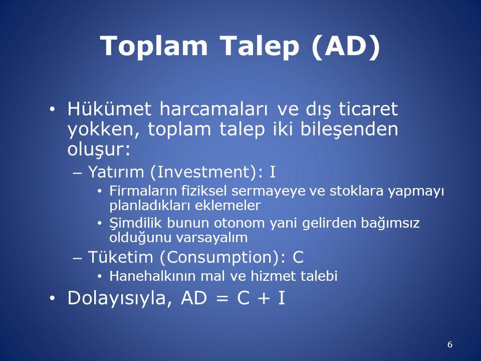 Toplam Talep (AD) • Hükümet harcamaları ve dış ticaret yokken, toplam talep iki bileşenden oluşur: – Yatırım (Investment): I • Firmaların fiziksel ser