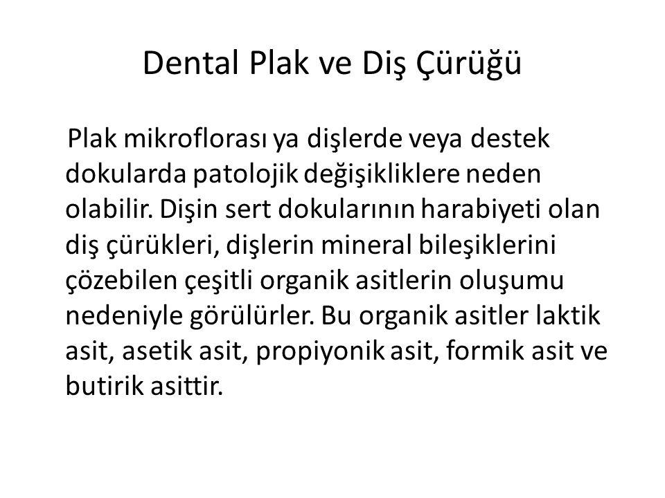 Dental Plak ve Diş Çürüğü Plak mikroflorası ya dişlerde veya destek dokularda patolojik değişikliklere neden olabilir. Dişin sert dokularının harabiye