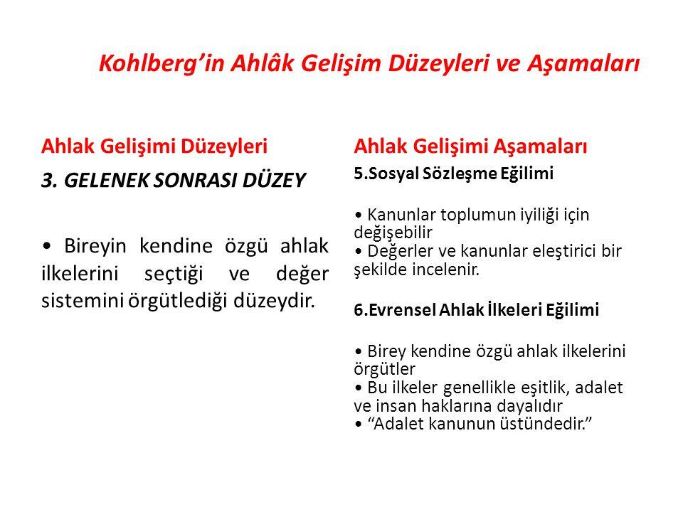 Kohlberg'in Ahlâk Gelişim Düzeyleri ve Aşamaları Ahlak Gelişimi Düzeyleri 3.