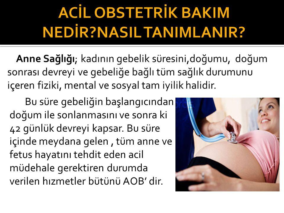 Anne Sağlığı; kadının gebelik süresini,doğumu, doğum sonrası devreyi ve gebeliğe bağlı tüm sağlık durumunu içeren fiziki, mental ve sosyal tam iyilik