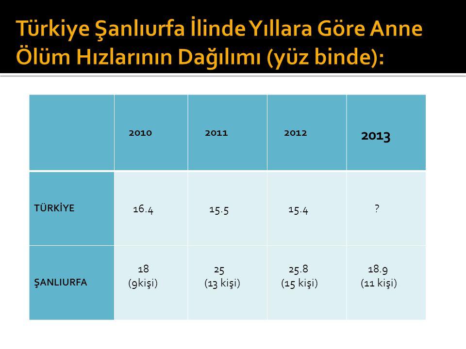 2010 2011 2012 2013 TÜRKİYE 16.4 15.5 15.4 ? ŞANLIURFA 18 (9kişi) 25 (13 kişi) 25.8 (15 kişi) 18.9 (11 kişi)