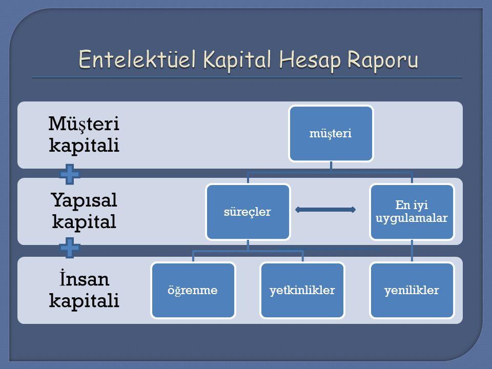 İ nsan kapitali Yapısal kapital Mü ş teri kapitali mü ş terisüreçlerö ğ renmeyetkinlikler En iyi uygulamalar yenilikler