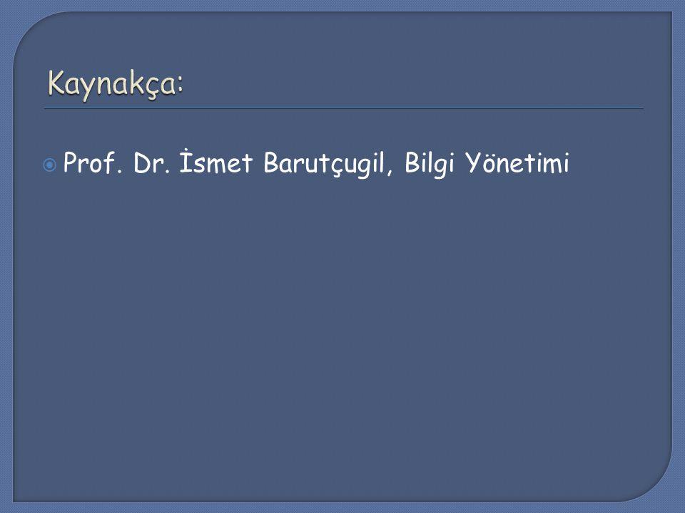  Prof. Dr. İsmet Barutçugil, Bilgi Yönetimi