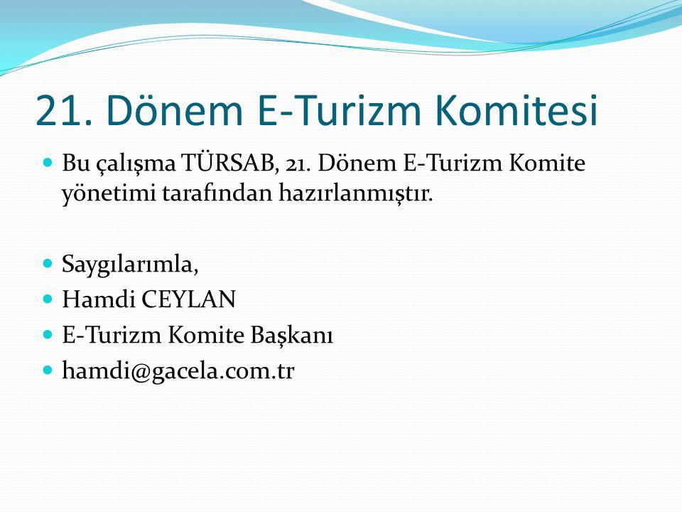21. Dönem E-Turizm Komitesi  Bu çalışma TÜRSAB, 21. Dönem E-Turizm Komite yönetimi tarafından hazırlanmıştır.  Saygılarımla,  Hamdi CEYLAN  E-Turi