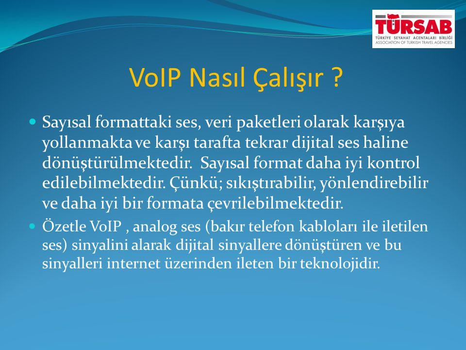 VoIP Nasıl Çalışır ?  Sayısal formattaki ses, veri paketleri olarak karşıya yollanmakta ve karşı tarafta tekrar dijital ses haline dönüştürülmektedir