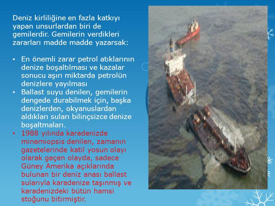 Deniz kirliliğine en fazla katkıyı yapan unsurlardan biri de gemilerdir. Gemilerin verdikleri zararları madde madde yazarsak: • En önemli zarar petrol