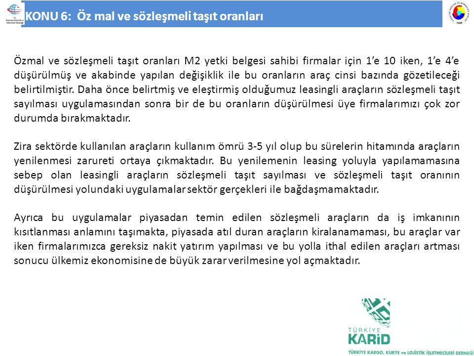 KONU 6: Öz mal ve sözleşmeli taşıt oranları Özmal ve sözleşmeli taşıt oranları M2 yetki belgesi sahibi firmalar için 1'e 10 iken, 1'e 4'e düşürülmüş v