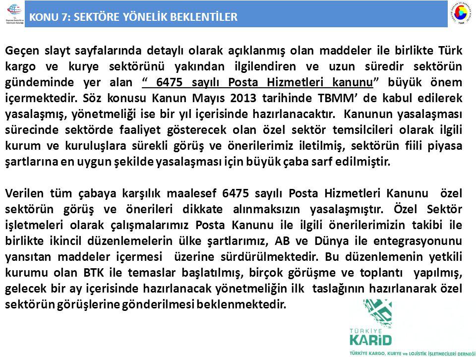 KONU 7: SEKTÖRE YÖNELİK BEKLENTİLER Geçen slayt sayfalarında detaylı olarak açıklanmış olan maddeler ile birlikte Türk kargo ve kurye sektörünü yakınd