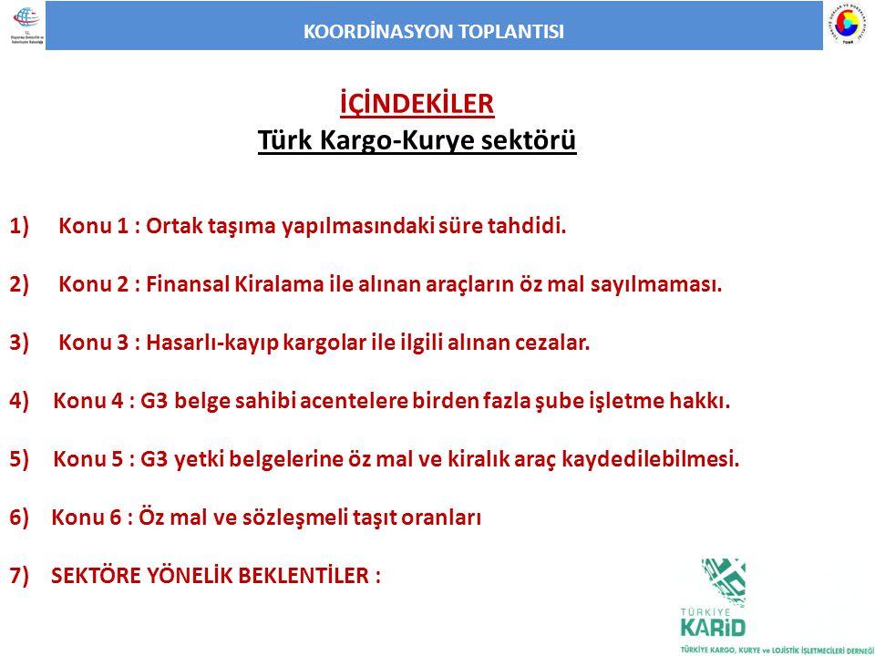 KOORDİNASYON TOPLANTISI İÇİNDEKİLER Türk Kargo-Kurye sektörü 1) Konu 1 : Ortak taşıma yapılmasındaki süre tahdidi. 2) Konu 2 : Finansal Kiralama ile a