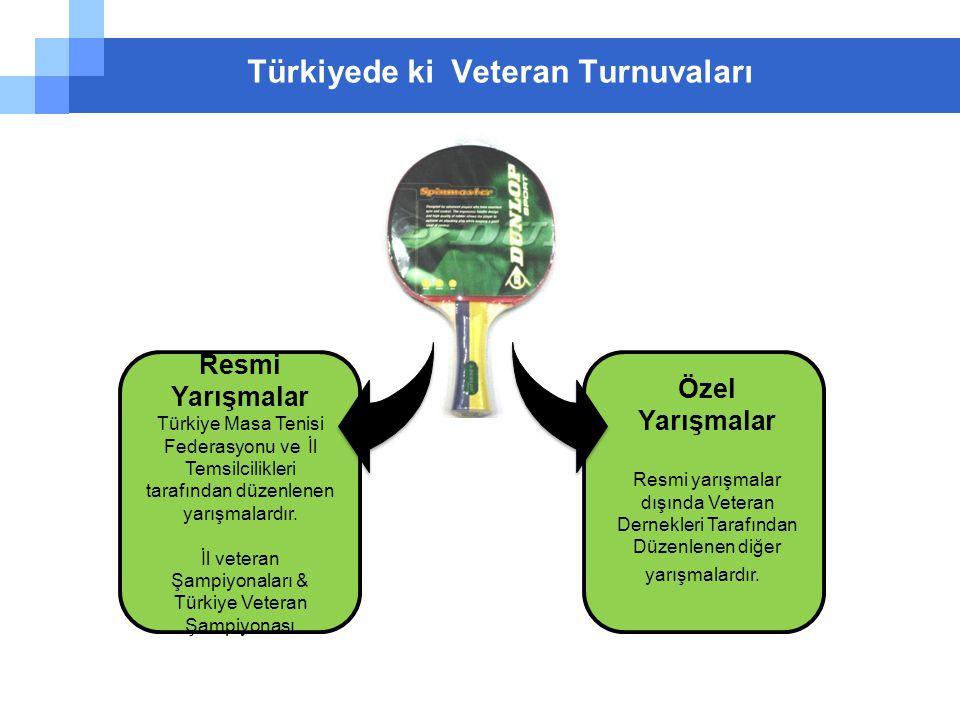 Türkiyede ki Veteran Turnuvaları Resmi Yarışmalar Türkiye Masa Tenisi Federasyonu ve İl Temsilcilikleri tarafından düzenlenen yarışmalardır. İl vetera