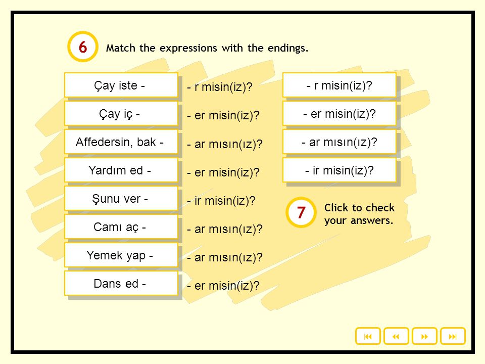 Offering & requests: We use suffixes for simple present tense for offers and requests. Study the examples: Çay istiyor musun(uz)? = Do you want tea? Ç