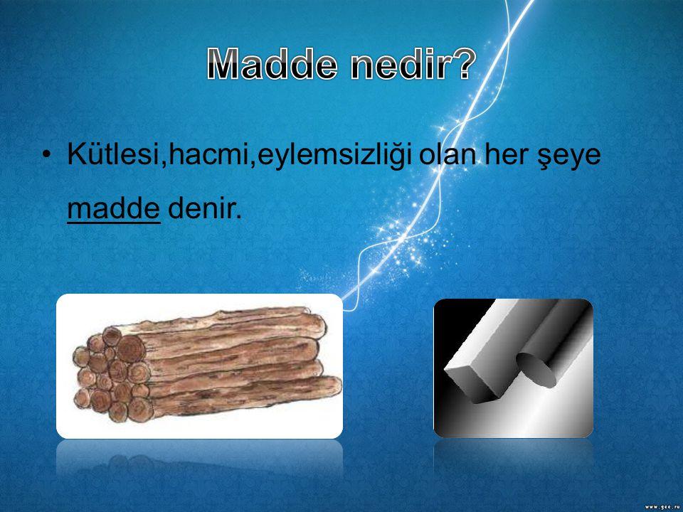 •Maddenin tanecikli yapısını atom adı verilen maddeler oluşturur.