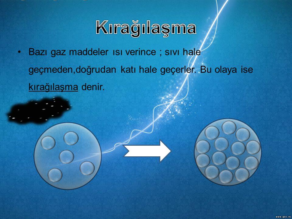 •Bazı gaz maddeler ısı verince ; sıvı hale geçmeden,doğrudan katı hale geçerler. Bu olaya ise kırağılaşma denir.
