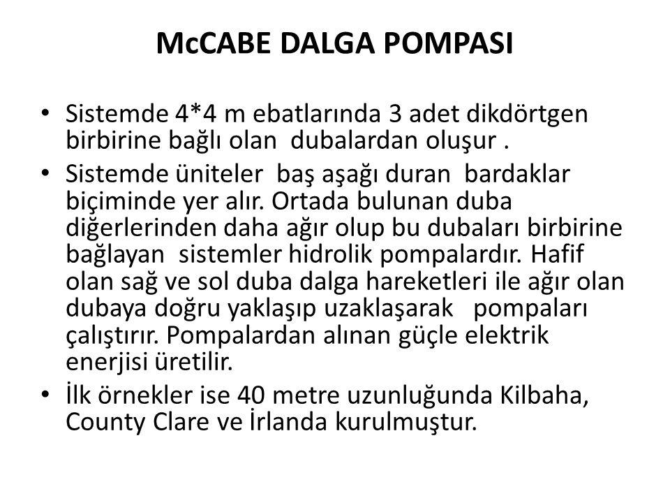 McCABE DALGA POMPASI • Sistemde 4*4 m ebatlarında 3 adet dikdörtgen birbirine bağlı olan dubalardan oluşur.