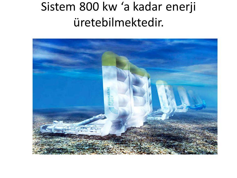 OPT DALGA ENERJİ DÖNÜŞTÜRÜCÜSÜ • Sistem 2 ile 5 metre arasında çapı değişen üstü kapalı tabanı denize açık silindirik bir yapıdan oluşur.
